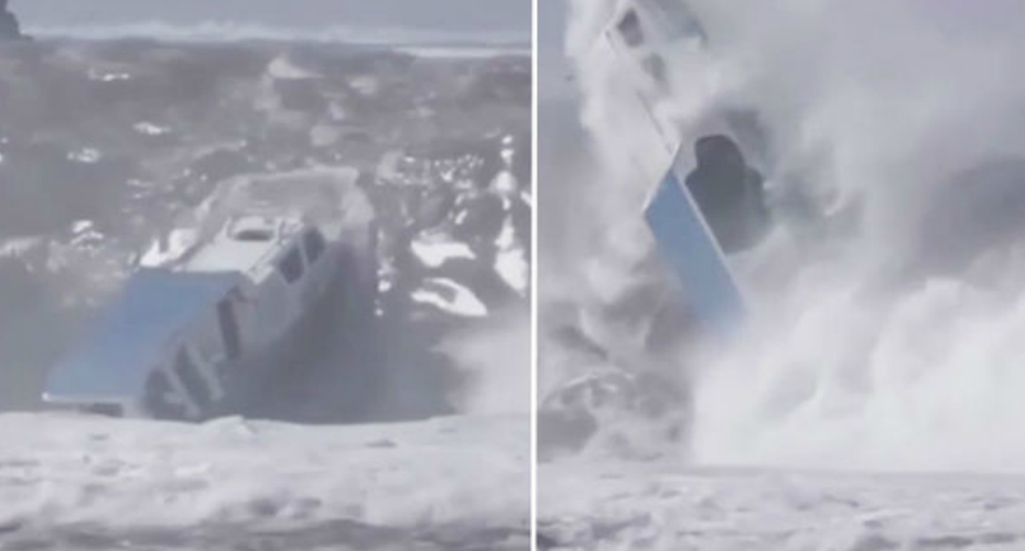 Dramatic Moment Tiny Boat Is Capsized By Huge Wave In Indonesia 7