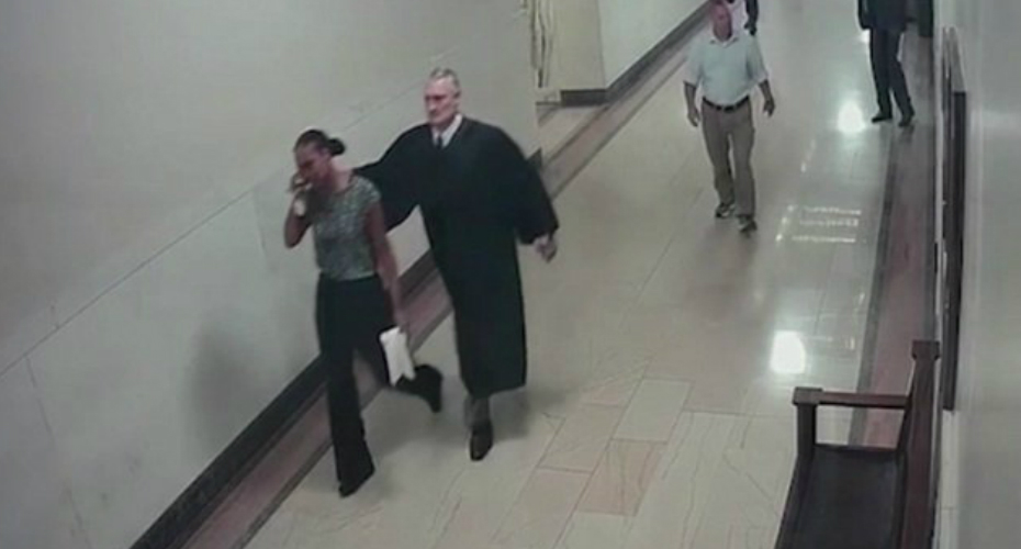 Judge Grabs Woman Shoulder And Leads Her Back To Courtroom 8