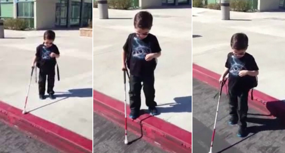 4-Year-Old Boy Using His White Cane To Navigate Down a Curb Independently For The First Time 5