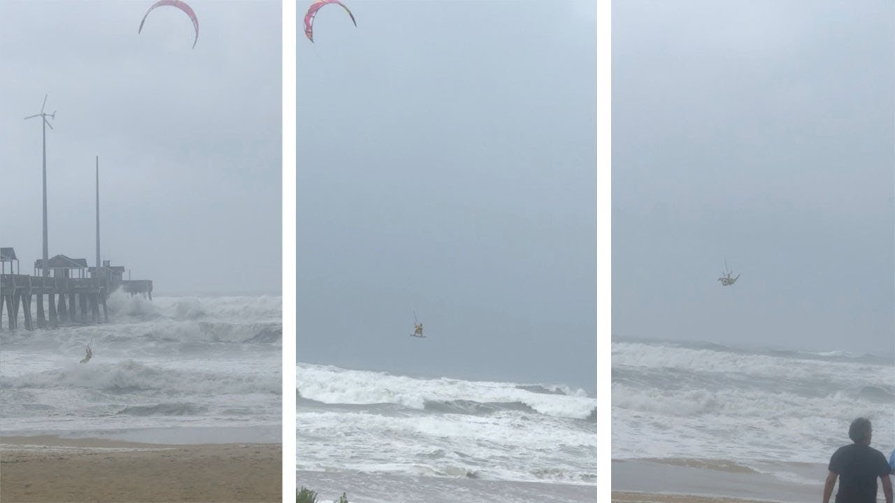 Daredevil Caught Kite Surfing In Hurricane Florence 2