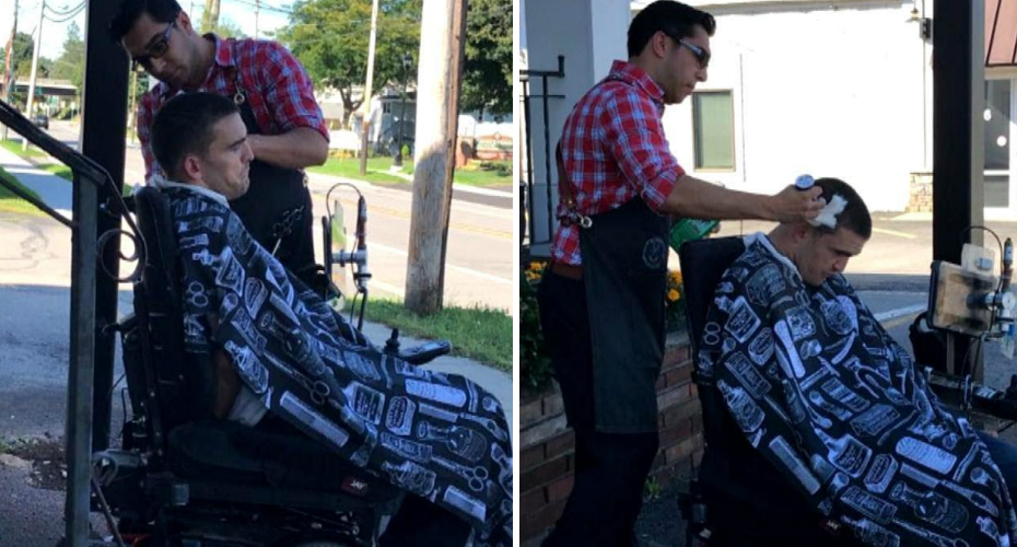 Barber Cuts Hair of Man in Wheelchair on Sidewalk When He Can't Get Into Shop 8