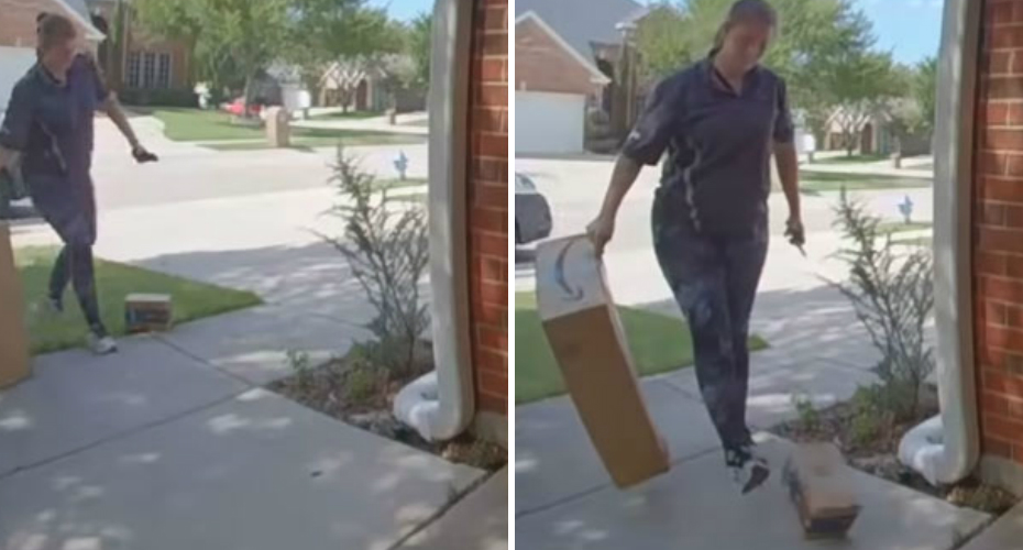 Lazy Amazon Delivery Woman Kicks Package All The Way To The Door 1