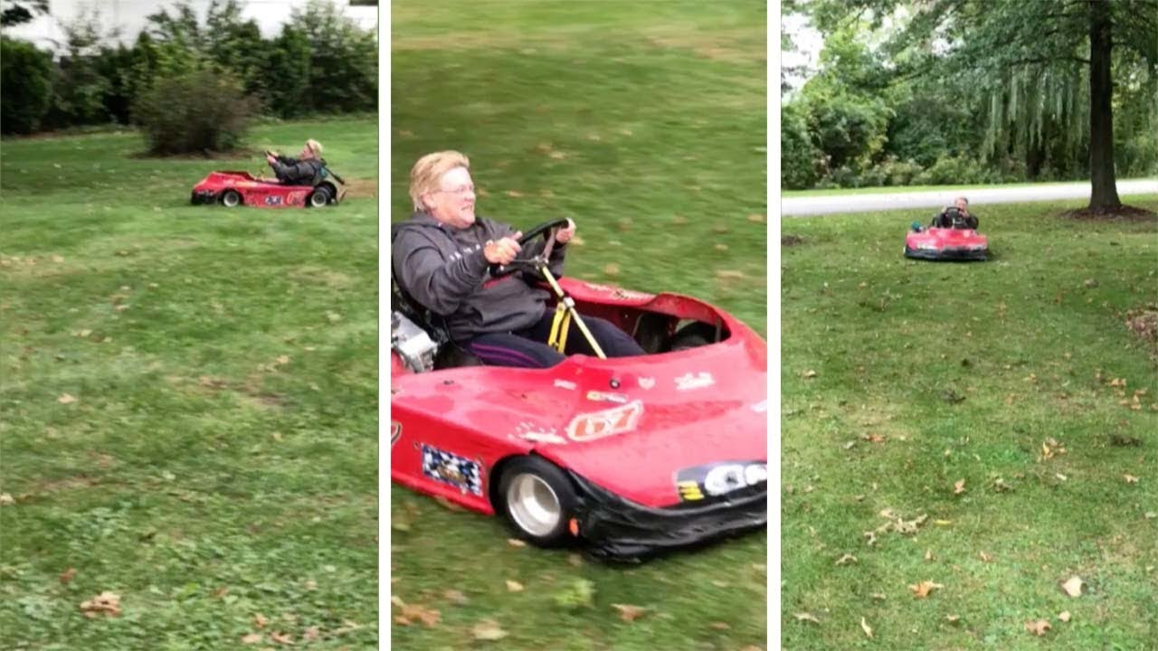 Speedy Grandma Races Around On Go Kart 7