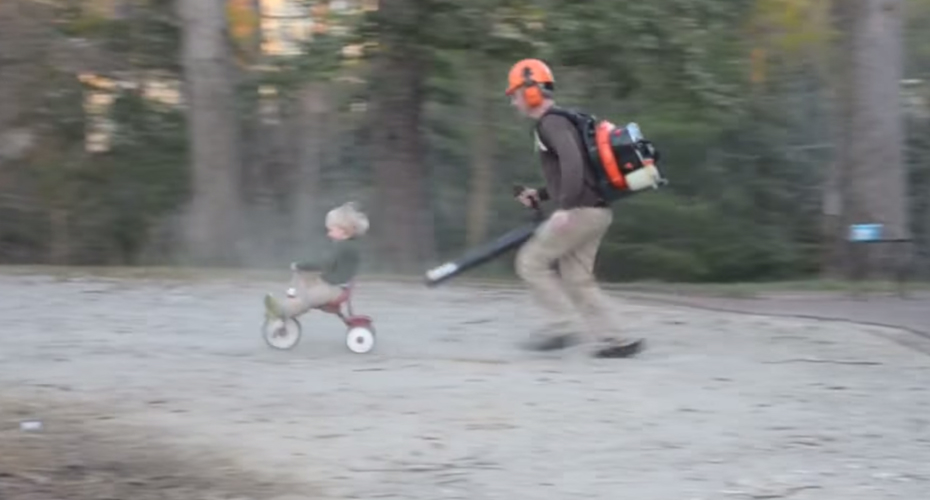 Dad Hack Alert! Virginia Dad Uses A Leaf Blower To Push His Son On A Tricycle 3