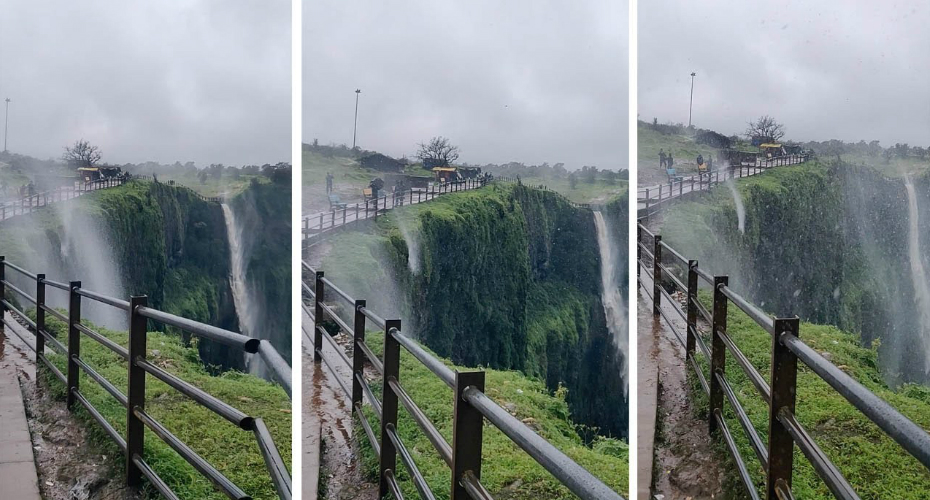 Breathtaking Moment Wind Blows Waterfall Upwards 6
