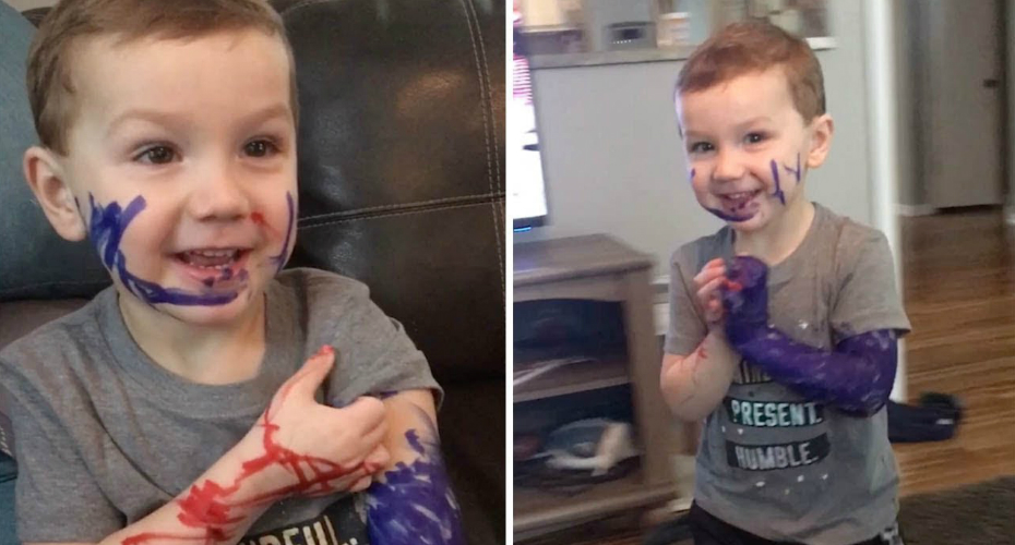 Toddler Covers Arm In Permanent Marker 4