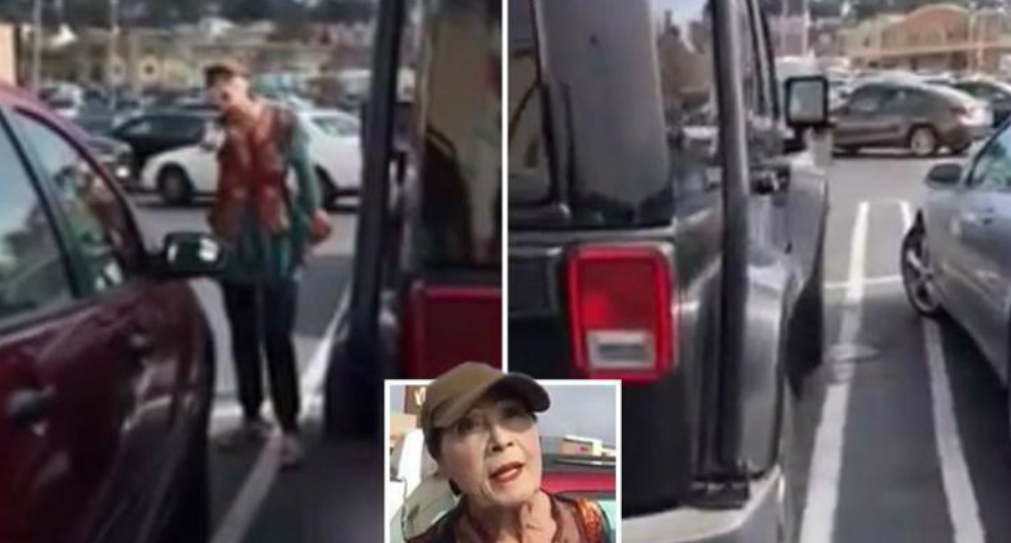 Crazy Lady Who Doesn't Know How To Park Loses Her Mind Over A Man In Parking Lot 5