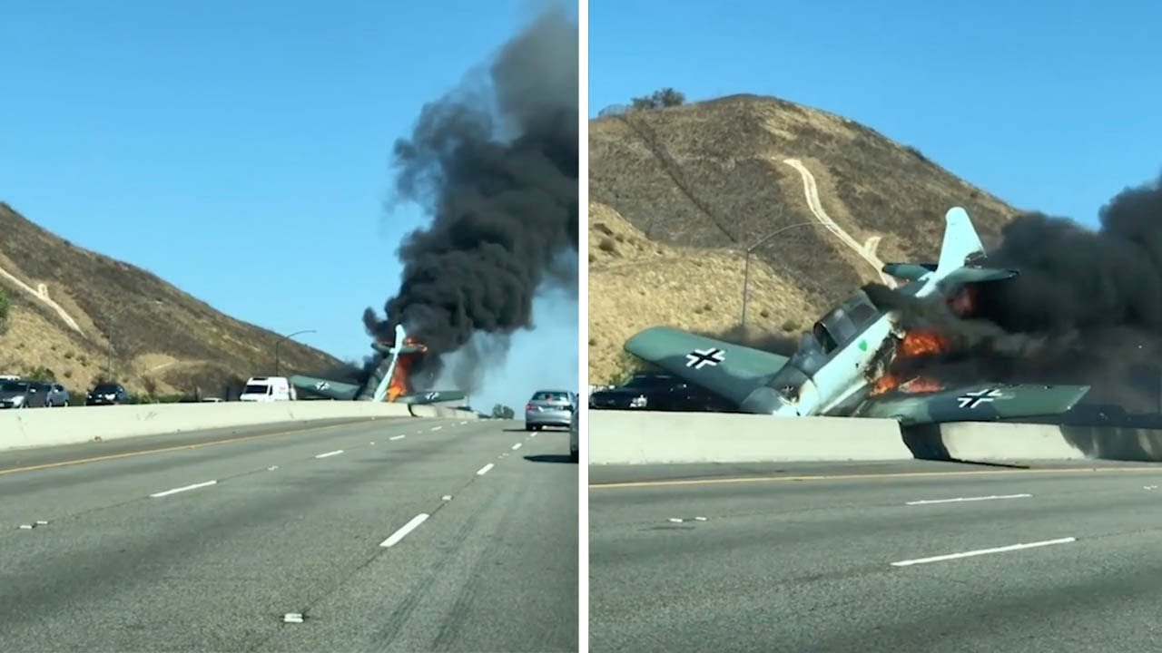 Shocking Aftermath Of WWII Era Plane Crash On Freeway 8
