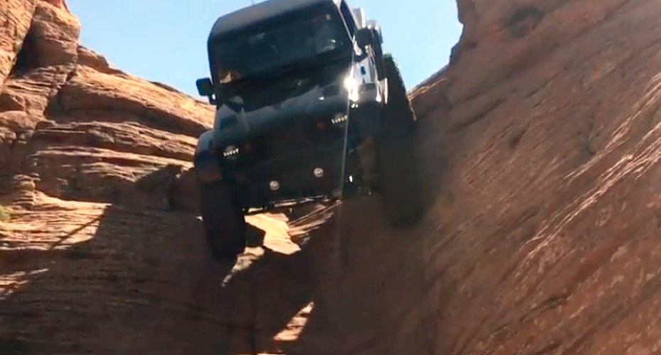 Jeep Casually Drive Down a Nearly Vertical Rock Formation 4