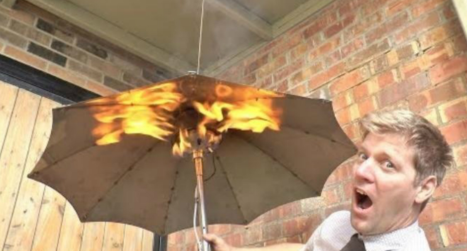 Man Disassembles A Patio Heater And Turns It Into A Gas-Heated Umbrella 5