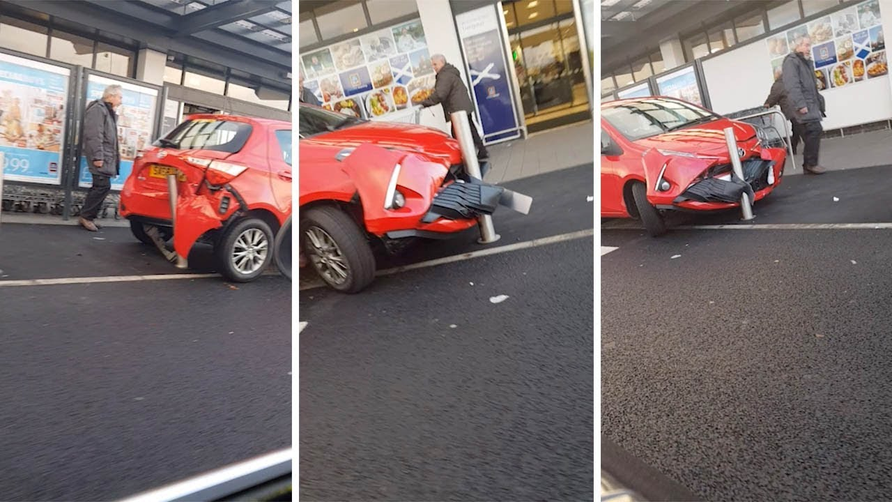 Car Gets Caught Between Two Safety Barriers 1