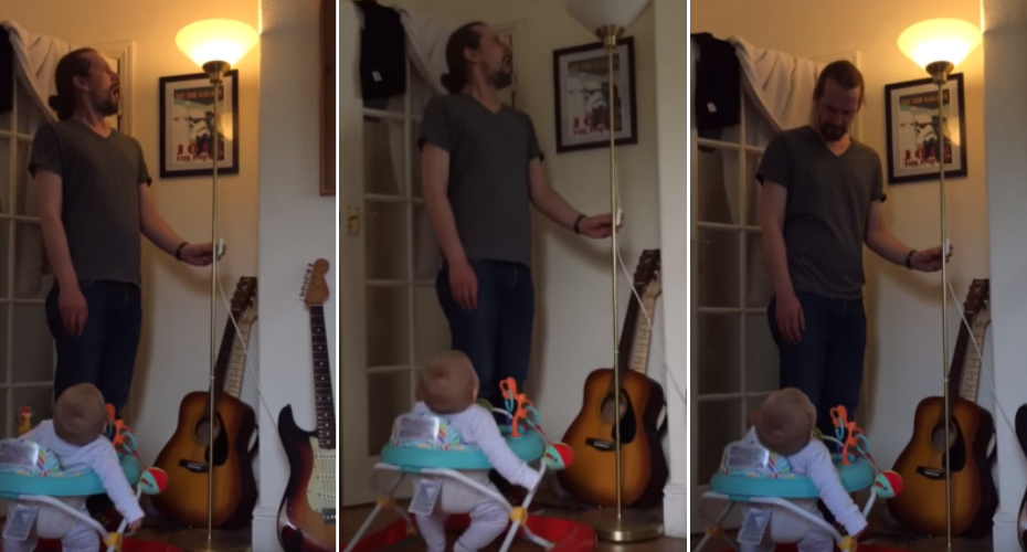 Adorable Baby Can't Stop Laughing At Dad Pretending To Blow Out Lamp 8
