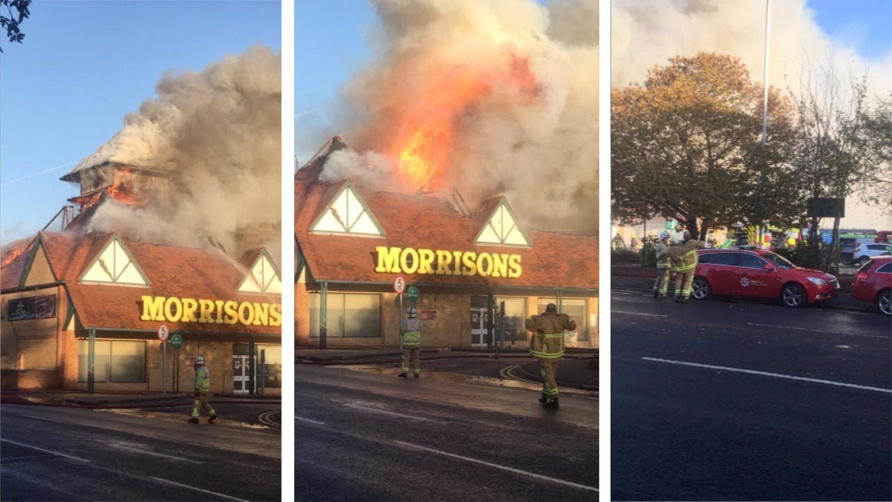 Morrisons Roof Collapses While On Fire In Kent 2