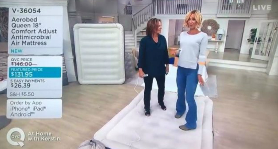 "Qvc Promotes An Air Mattress Thats ""40% Puncture Resistant"" Anda It Pops On Live Tv 2"