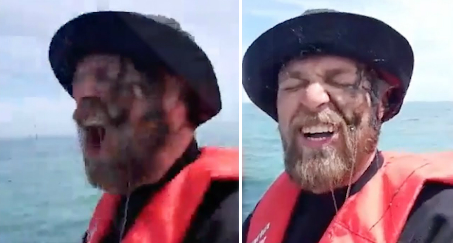Fisherman Catches a Squid then gets Inked in the Face 6