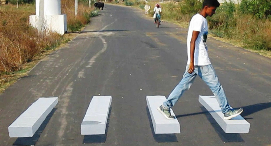 3D Zebra Crossing Stuns Villagers 4