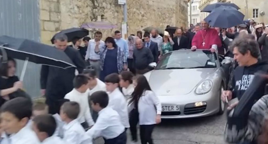 Catholic Priest In Malta Has Children Pull His Porsche 6