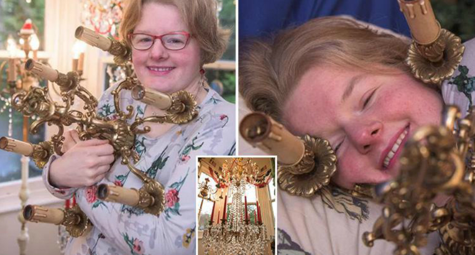 Woman Gets 'Engaged' To 28in Wide Chandelier Named Lumiere - But She Takes A Different One To Bed 1