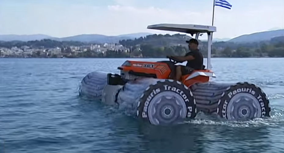 Is This a Tractor Or a Boat ?! Crazy Greek Guy Enjoys Beautiful Day On a Water With Amphibious Tractor! 9