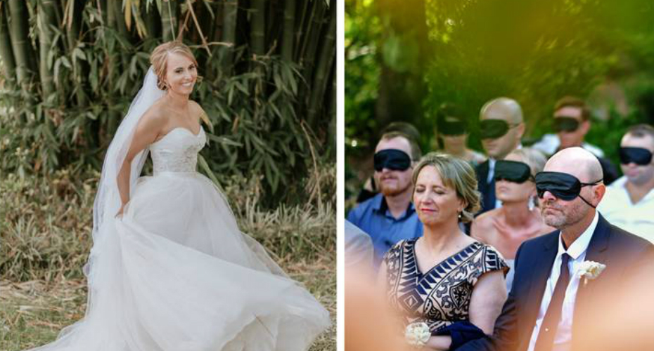 Wedding Guests Wear Blindfolds To Support Blind Bride 6