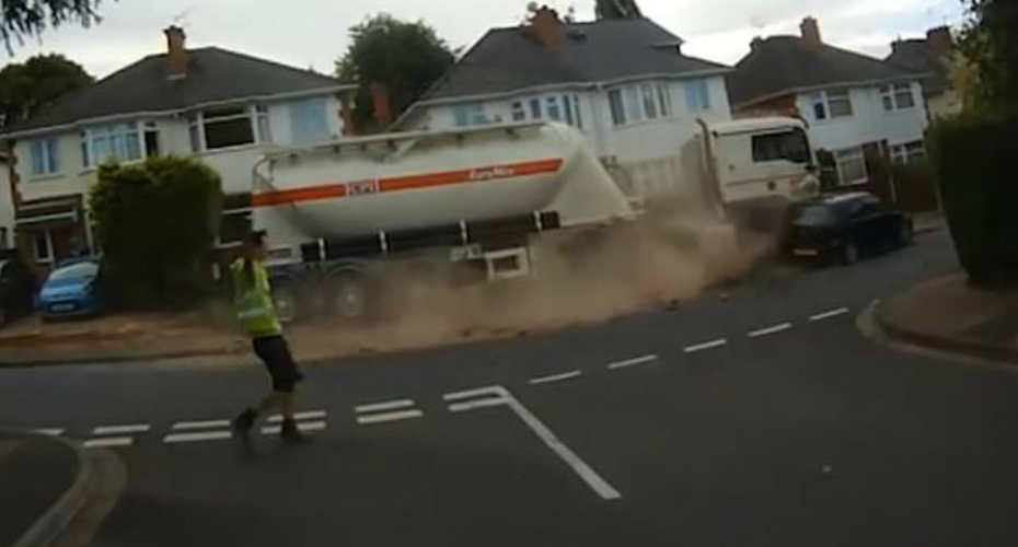 Runaway Lorry Demolishes Garden Walls, Flattens A Lamppost And Crumples A Parked Car 1