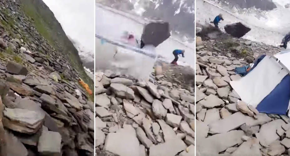 Massive Boulder Misses Mountain Climber By Inches 9