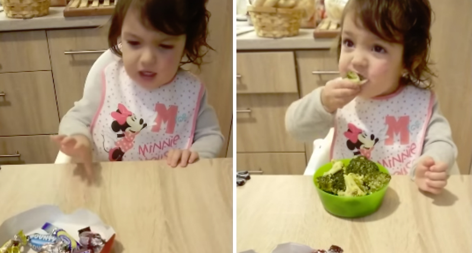 Little Girl Refuses Sweets And Chocolate But Gleefully Digs Into A Bowl Of Broccoli 1