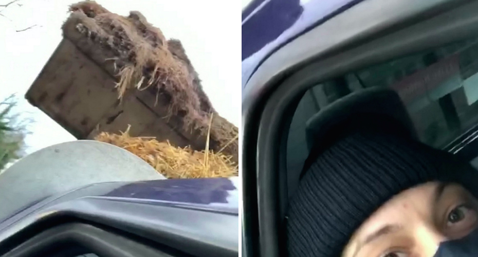 Tractor Driver Tips Bucket of Animal Poo Over Hunt Saboteurs 9