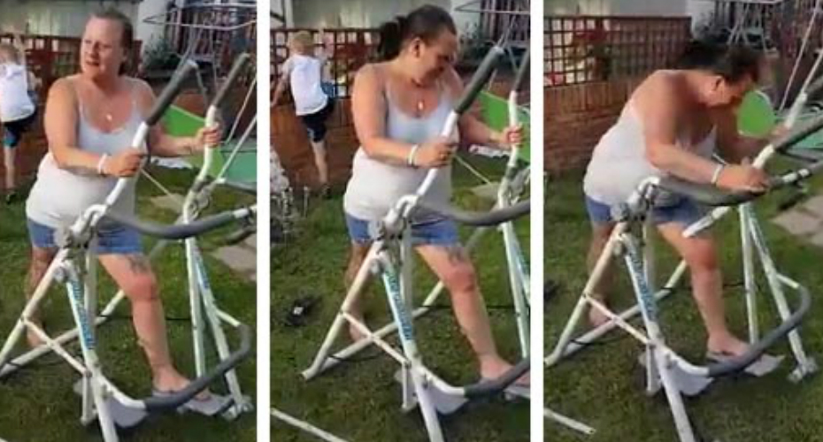 Woman Tries Out Home Cross-Trainer In Her Garden… With a Disastrously Funny Result 1