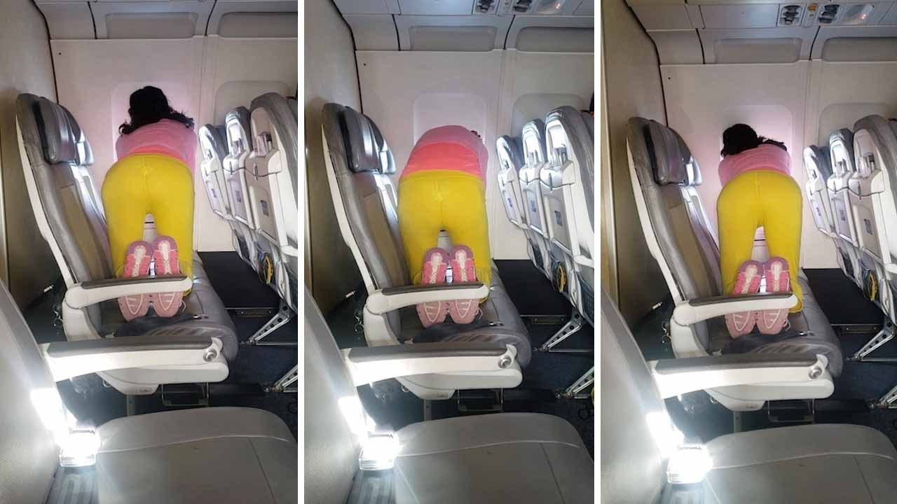 Woman Caught Doing Yoga Routine While On Flight To San Diego 9