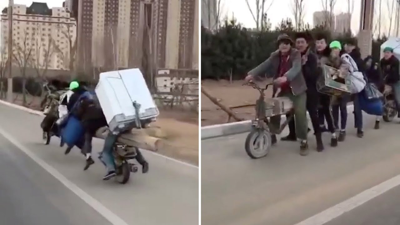 Bizarre Motorbike Made From Huge Log Carries Seven People And Fridge 8
