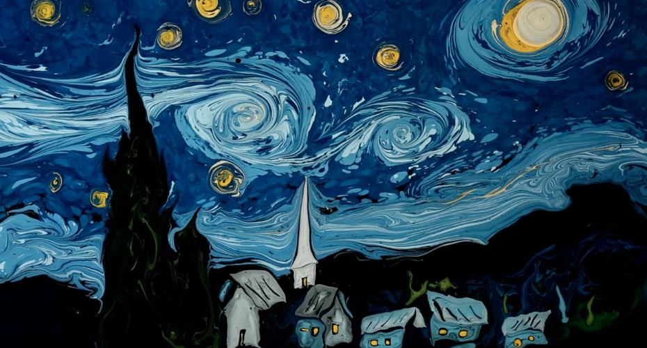Artist Uses Water As Canvas To Paint Stunning Version Of 'Starry Night' 1