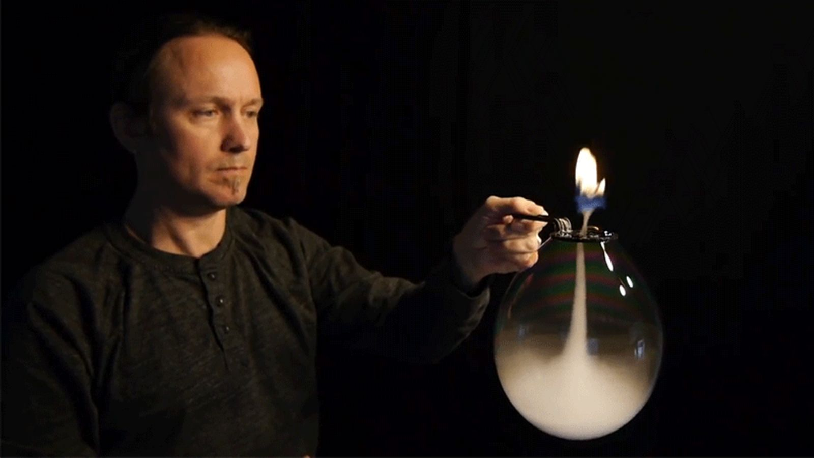 Watch This Guy Blow An Upside-Down, Fire-Spewing Smoke Tornado Inside A Bubble 5
