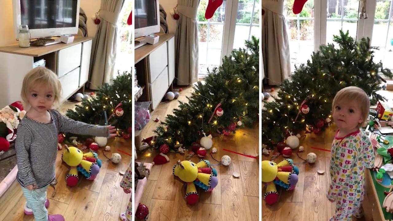 Naughty Triplets Pull Down Family Christmas Tree 1