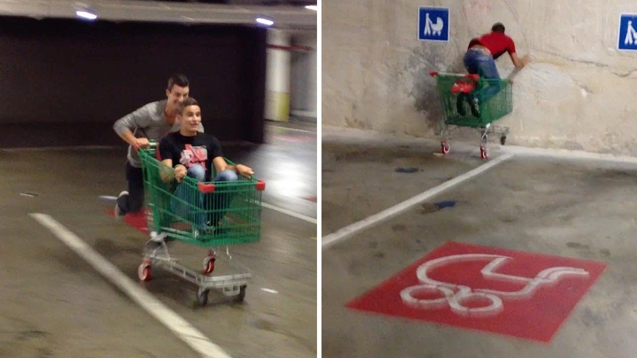 Hilarious Mate Pushes Friends In Trolley Into Car Park Wall 5