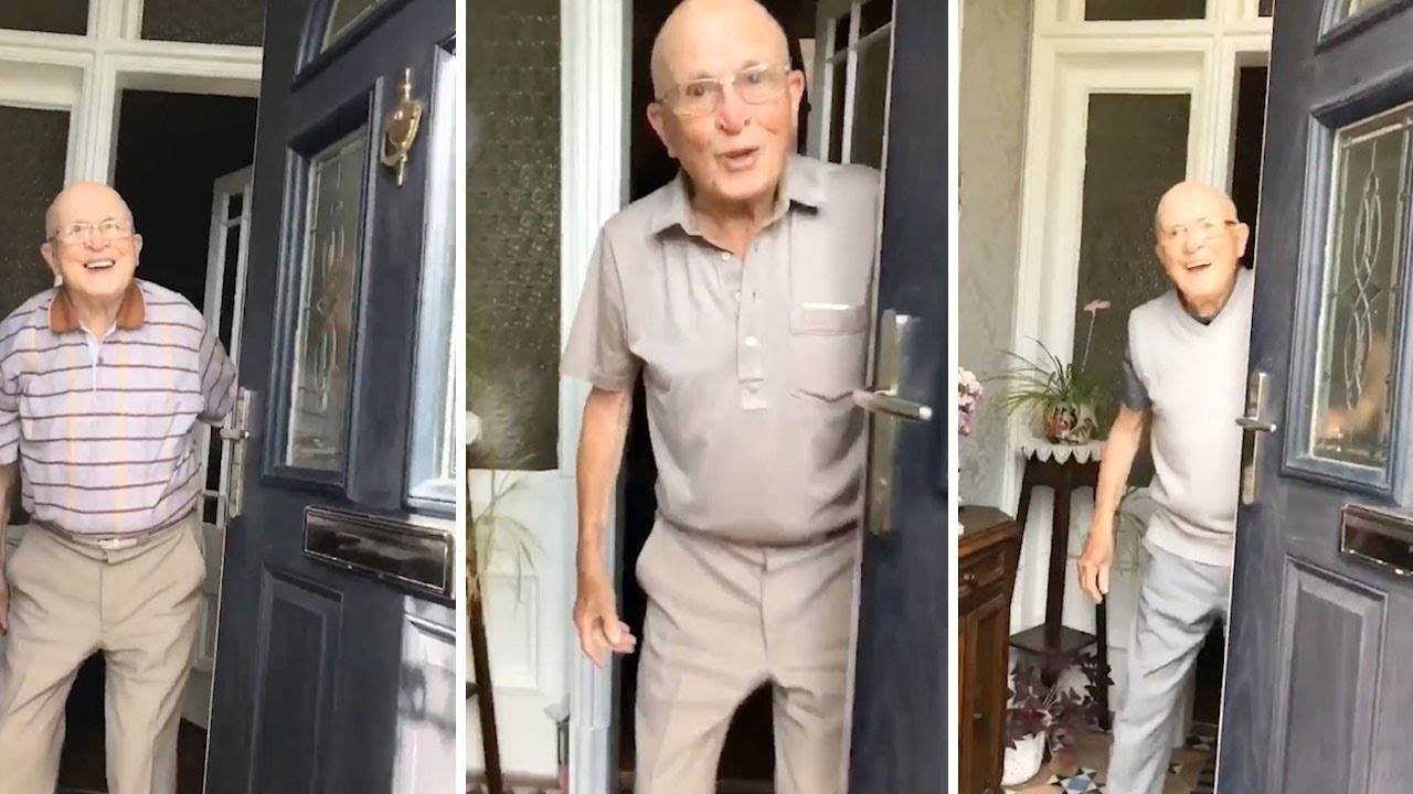 Girl Films Grandad's Ecstatic Reactions Every Time He Opens The Door 5