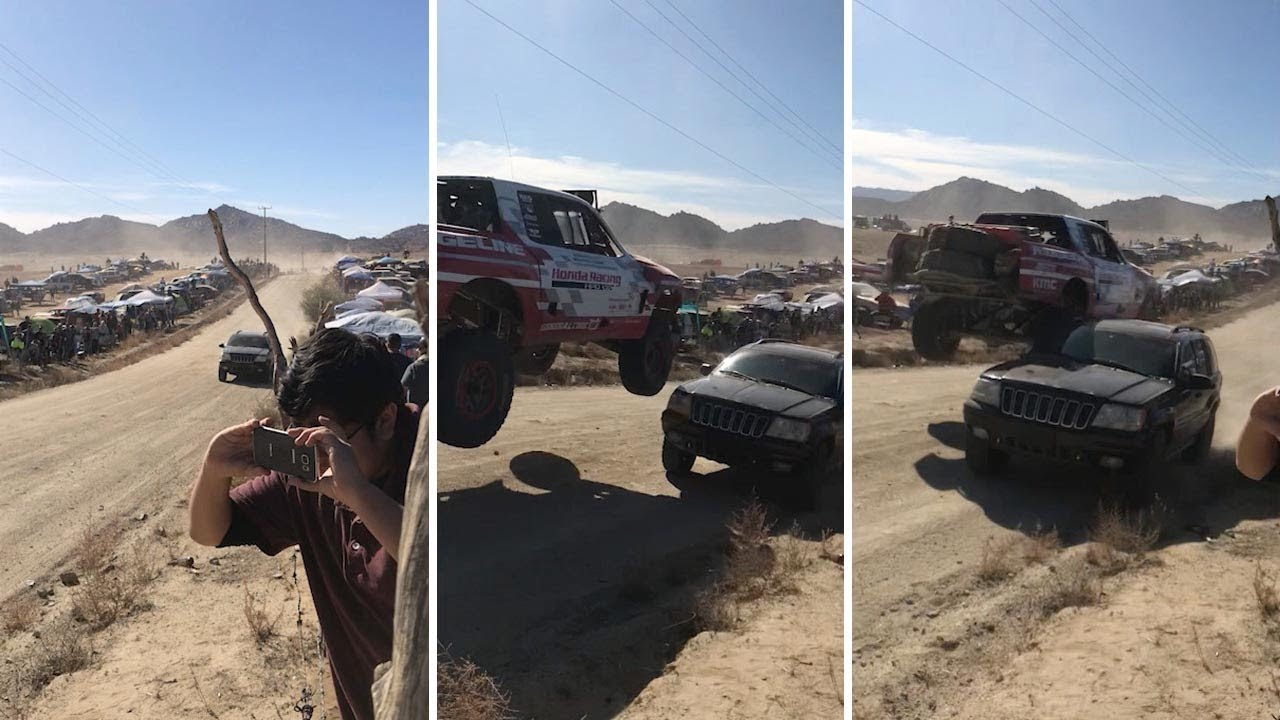 Airborne Race Car Has Extremely Close Call As it Clips Another Jeep 5