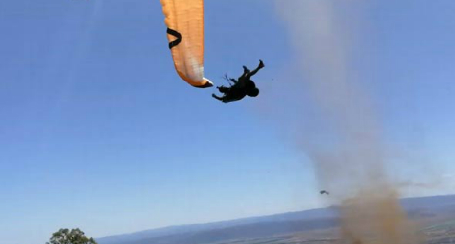 Paraglider Caught In A Dust Devil 1
